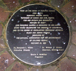 Circular memorial marker (or plaque) for Dorothy Parker's remains at the NAACP in Baltimore, MD