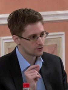 Edward Snowden giving a talk.