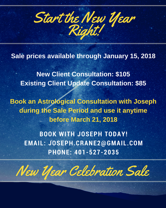 Sale flyer offering Astrological Consultations at a discount for new and existing clients by January 15 2018.